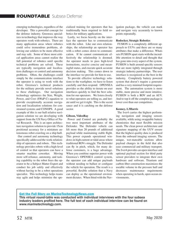 Marine Technology Magazine, page 52,  May 2020