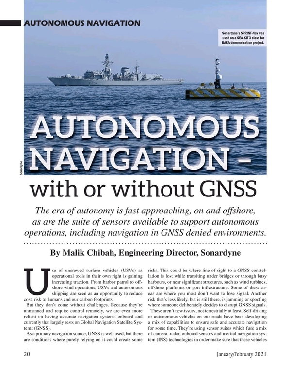 Marine Technology Magazine, page 20,  Jan 2021