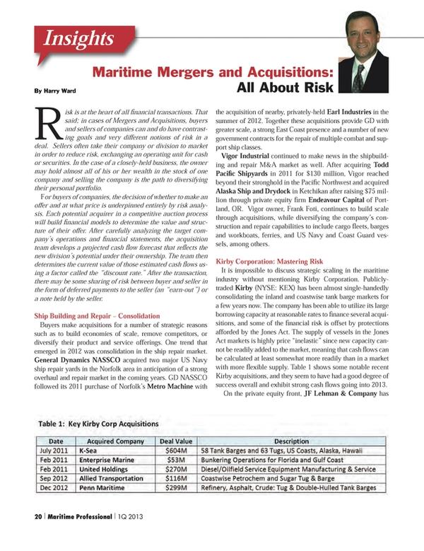 Maritime Logistics Professional Magazine, page 20,  Q1 2013