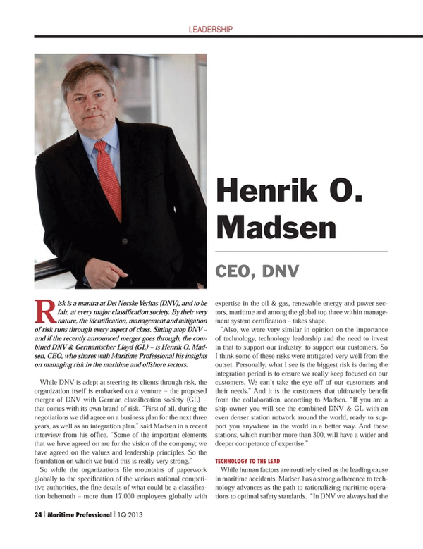 Maritime Logistics Professional Magazine, page 24,  Q1 2013 technology leadership
