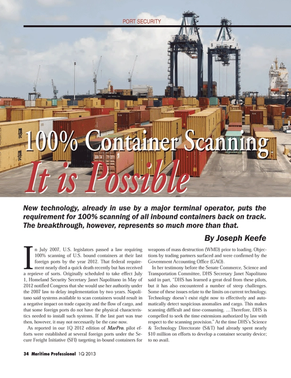Maritime Logistics Professional Magazine, page 34,  Q1 2013