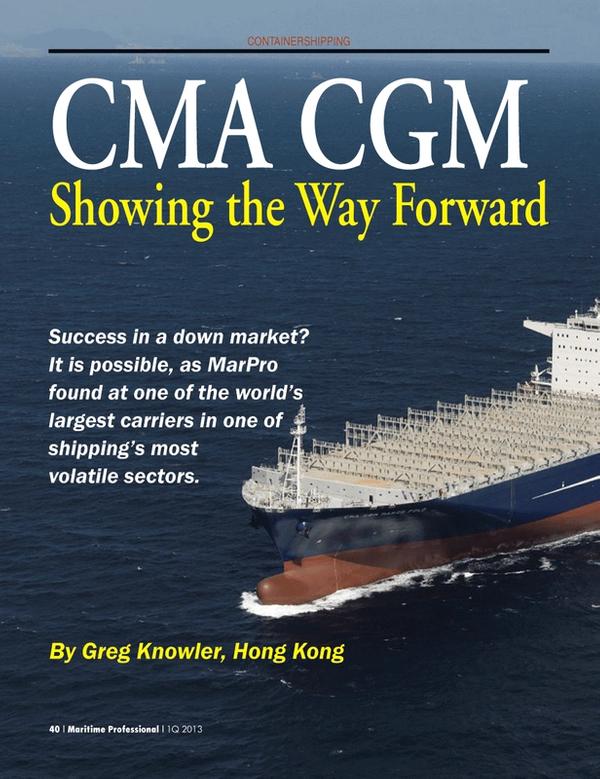 Maritime Logistics Professional Magazine, page 40,  Q1 2013