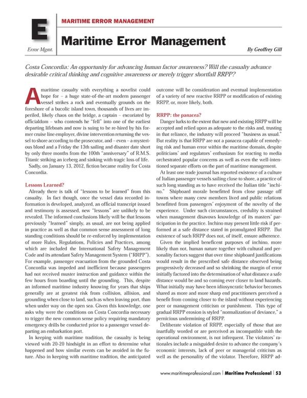 Maritime Logistics Professional Magazine, page 53,  Q1 2013
