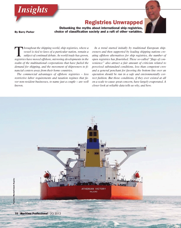Maritime Logistics Professional Magazine, page 10,  Q2 2013 Barry ParkerInsightsThroughout