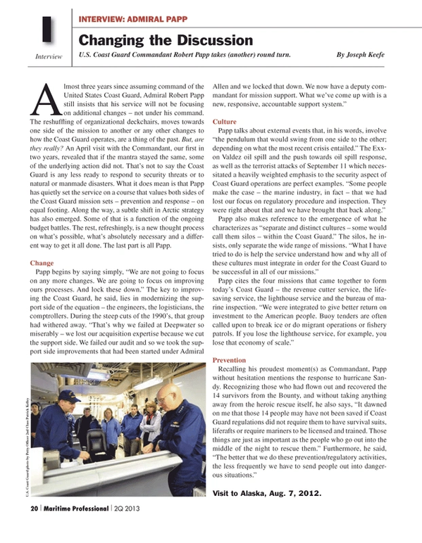 Maritime Logistics Professional Magazine, page 20,  Q2 2013 Patrick Kelley