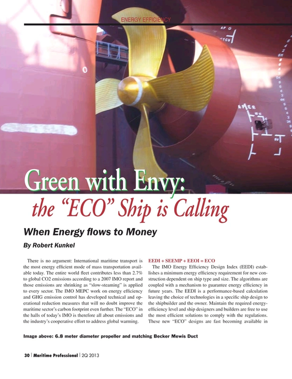 Maritime Logistics Professional Magazine, page 30,  Q2 2013 minimum energy ef