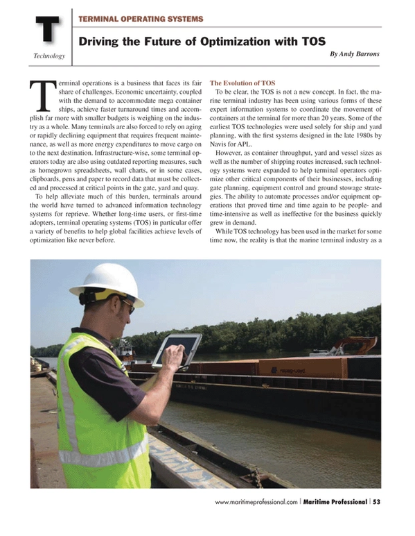 Maritime Logistics Professional Magazine, page 53,  Q2 2013 TOS technology