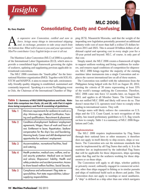 Maritime Logistics Professional Magazine, page 10,  Q3 2013