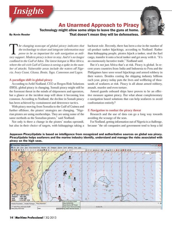 Maritime Logistics Professional Magazine, page 14,  Q3 2013