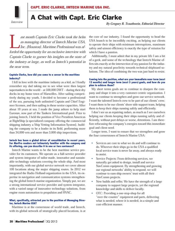 Maritime Logistics Professional Magazine, page 20,  Q3 2013