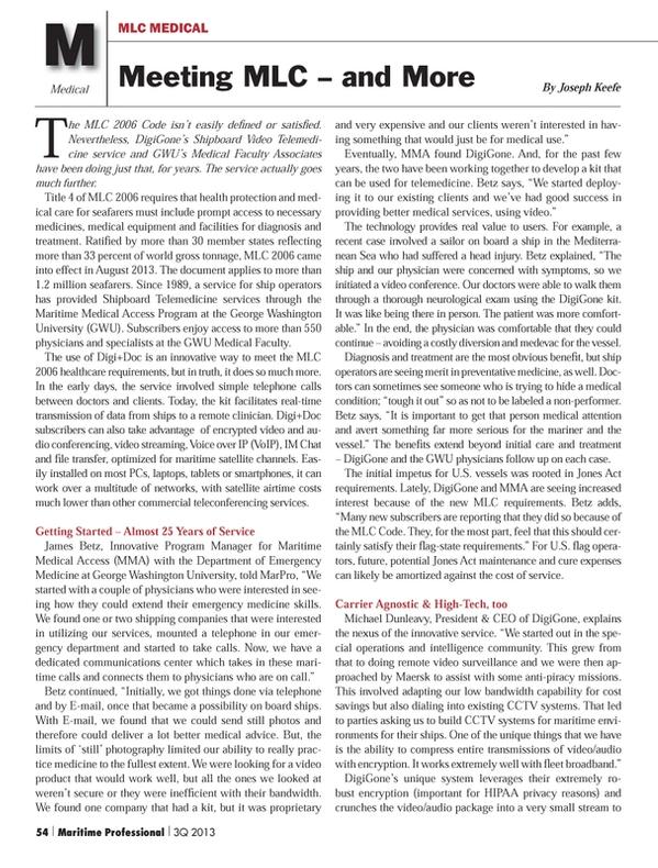 Maritime Logistics Professional Magazine, page 54,  Q3 2013 VOIP