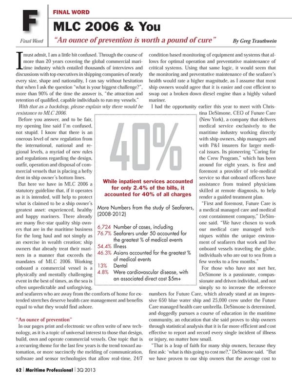 Maritime Logistics Professional Magazine, page 62,  Q3 2013