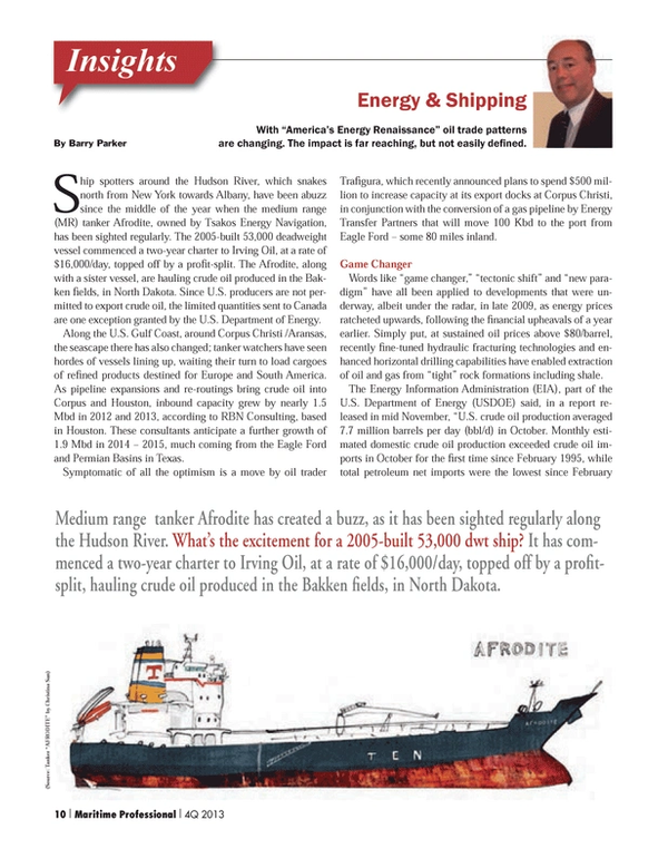 Maritime Logistics Professional Magazine, page 10,  Q4 2013 Texas