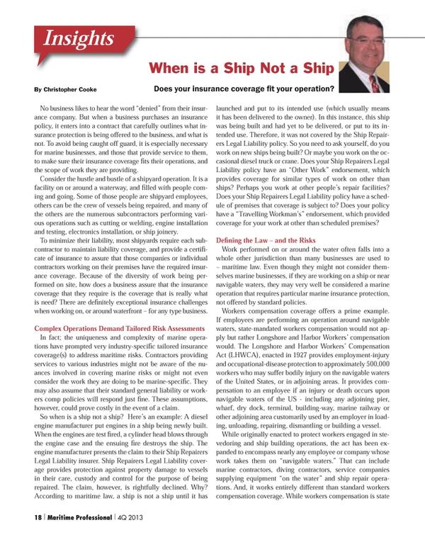 Maritime Logistics Professional Magazine, page 18,  Q4 2013