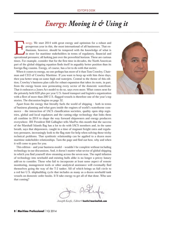 Maritime Logistics Professional Magazine, page 8,  Q1 2014 Bill Gallagher