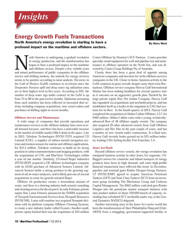 Maritime Logistics Professional Magazine, page 10,  Q1 2014