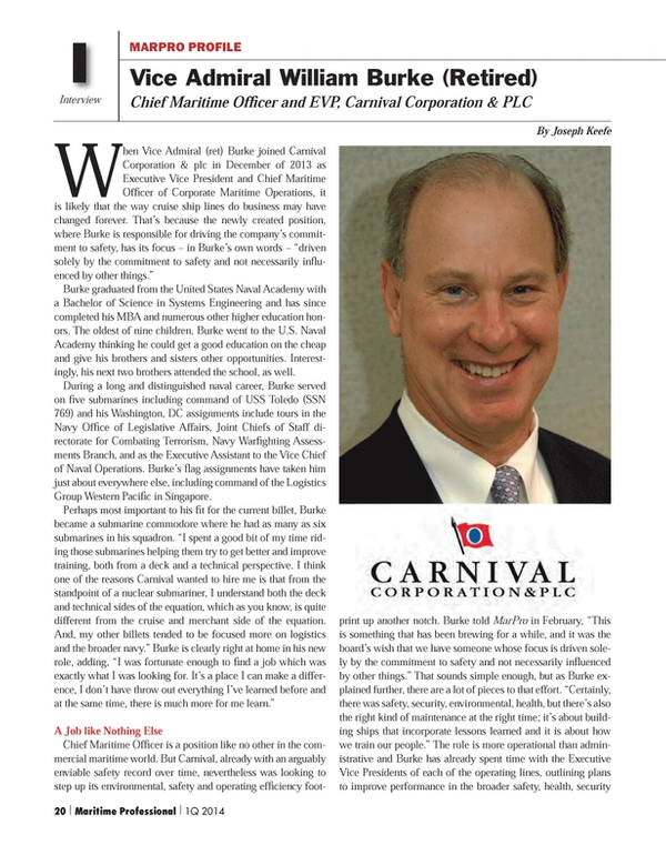 Maritime Logistics Professional Magazine, page 20,  Q1 2014