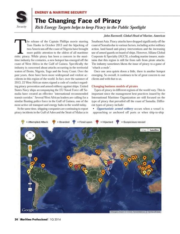 Maritime Logistics Professional Magazine, page 24,  Q1 2014