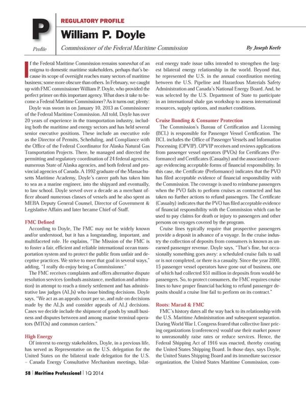 Maritime Logistics Professional Magazine, page 58,  Q1 2014