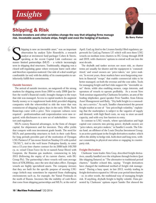 Maritime Logistics Professional Magazine, page 10,  Q2 2014 Tyler Rosenlicht
