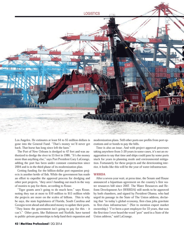 Maritime Logistics Professional Magazine, page 42,  Q2 2014 South Carolina