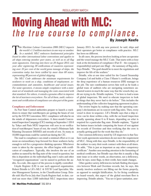 Maritime Logistics Professional Magazine, page 36,  Q3 2014