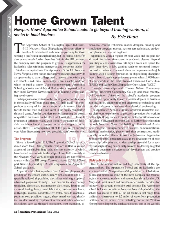 Maritime Logistics Professional Magazine, page 58,  Q3 2014