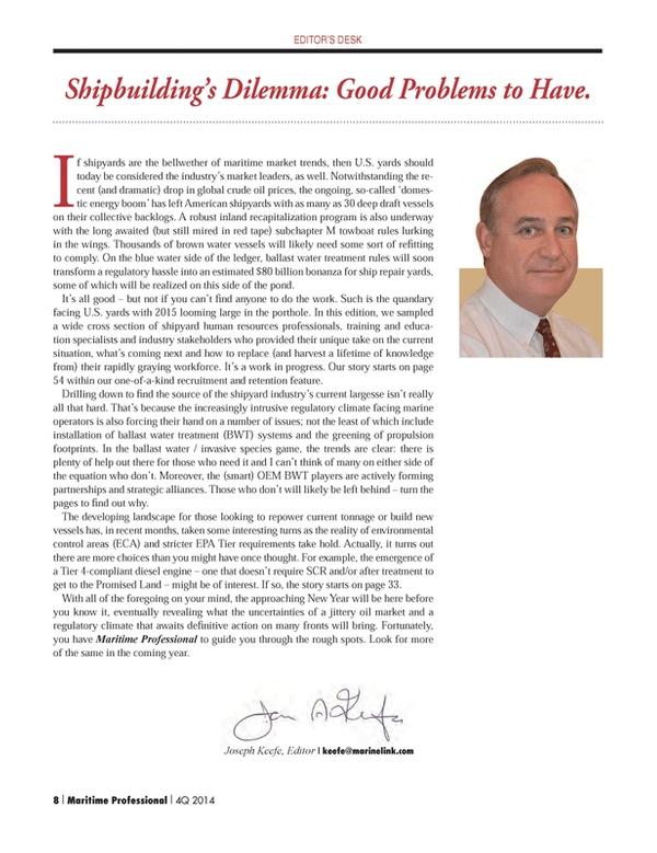Maritime Logistics Professional Magazine, page 8,  Q4 2014