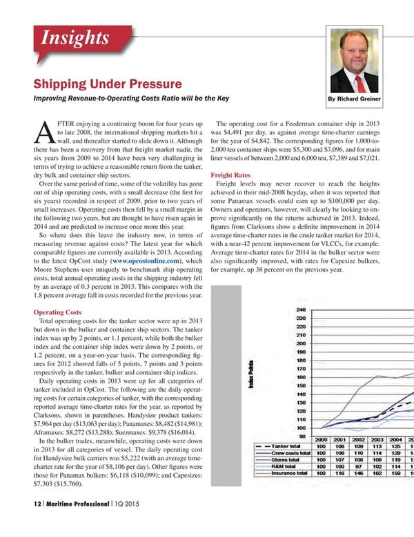 Maritime Logistics Professional Magazine, page 12,  Q1 2015