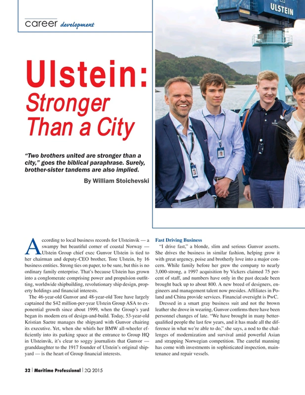 Maritime Logistics Professional Magazine, page 32,  Q2 2015