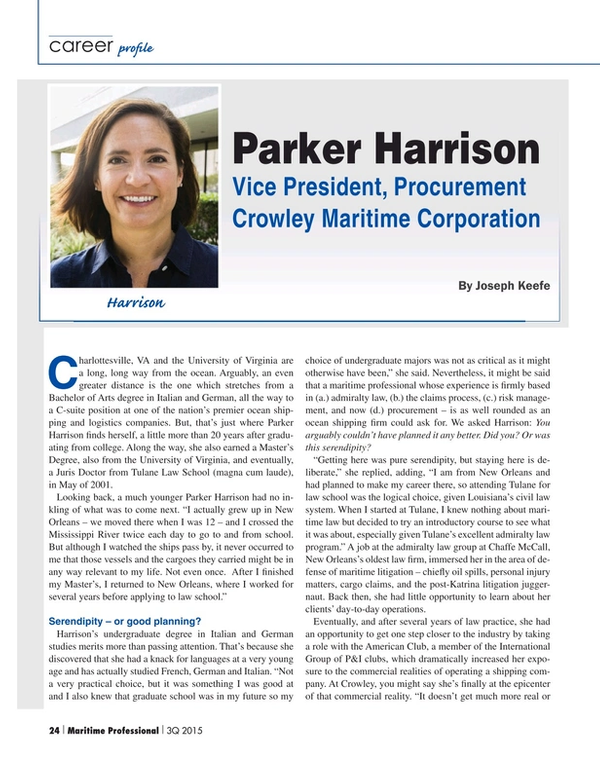 Maritime Logistics Professional Magazine, page 24,  Q3 2015