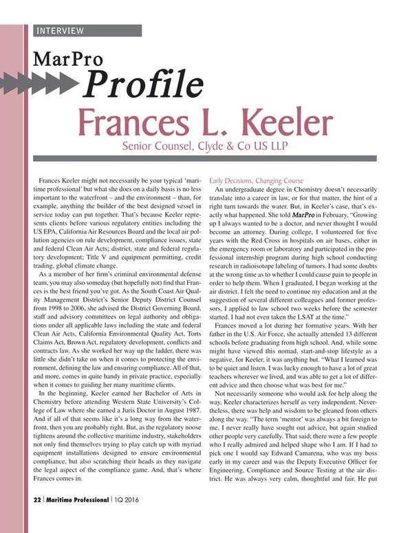 Maritime Logistics Professional Magazine, page 22,  Q1 2016