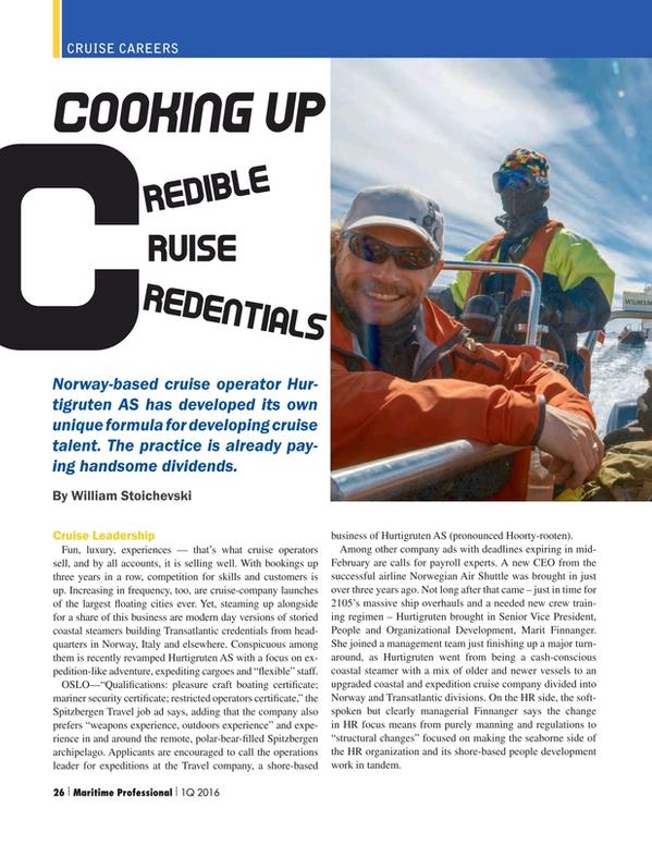 Maritime Logistics Professional Magazine, page 26,  Q1 2016