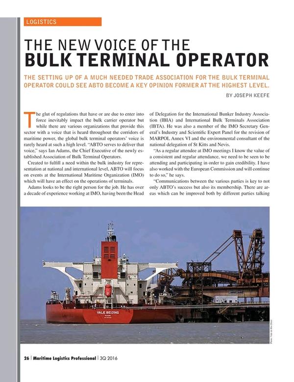 Maritime Logistics Professional Magazine, page 26,  Q3 2016