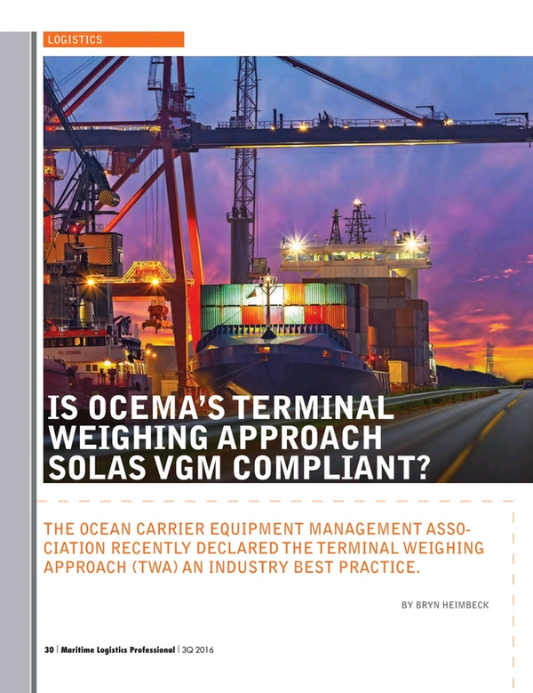 Maritime Logistics Professional Magazine, page 30,  Q3 2016
