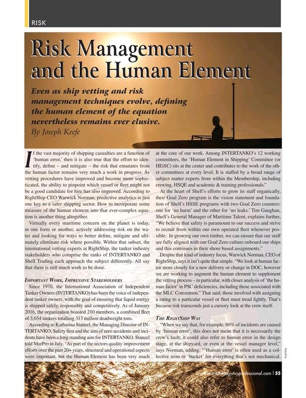 Maritime Logistics Professional Magazine, page 55,  Q3 2016