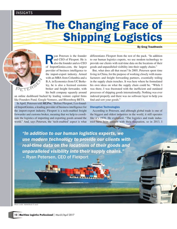 Maritime Logistics Professional Magazine, page 12,  Mar/Apr 2017