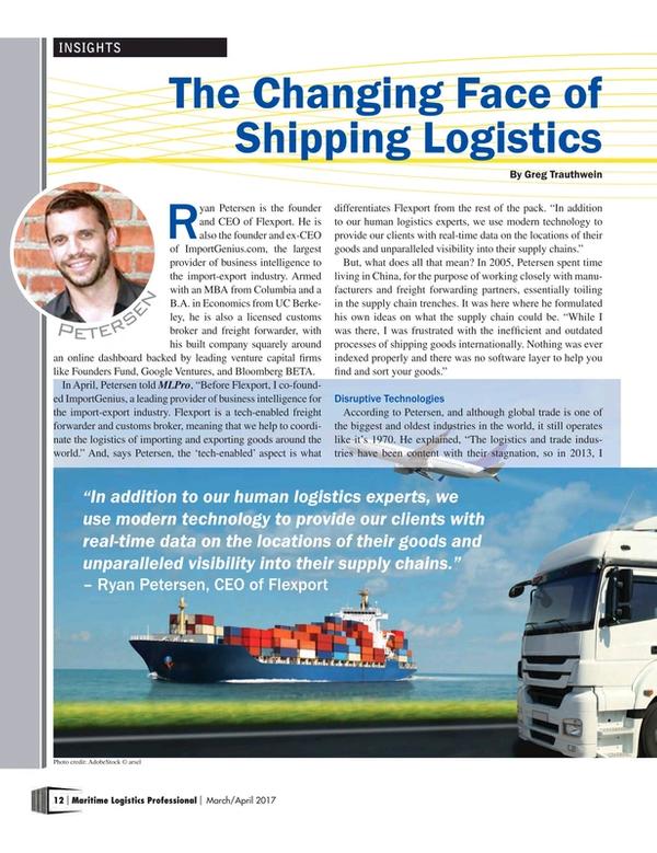 Maritime Logistics Professional Magazine, page 12,  Mar/Apr 2017