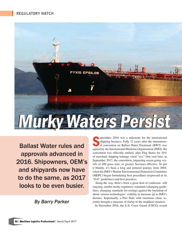 Maritime Logistics Professional Magazine, page 46,  Mar/Apr 2017