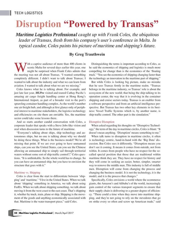 Maritime Logistics Professional Magazine, page 58,  Mar/Apr 2017