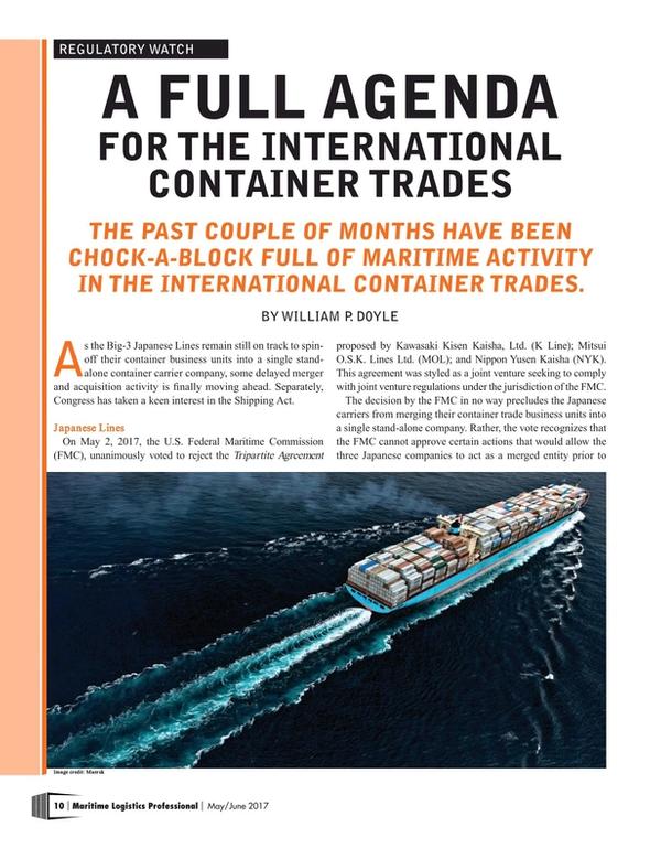 Maritime Logistics Professional Magazine, page 10,  May/Jun 2017