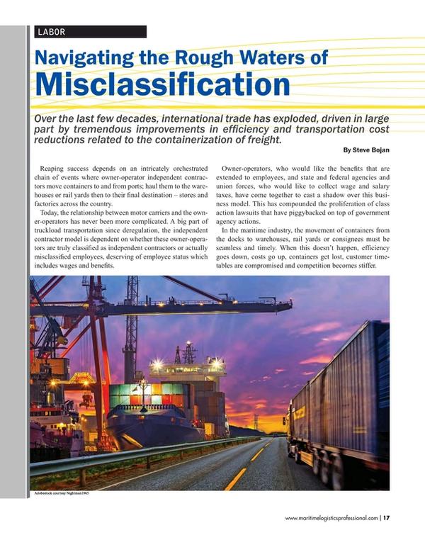 Maritime Logistics Professional Magazine, page 17,  May/Jun 2017