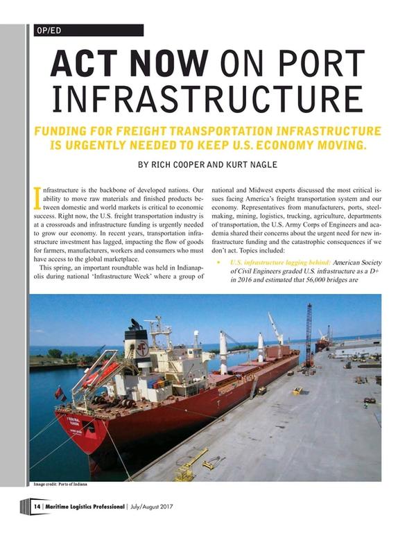 Maritime Logistics Professional Magazine, page 14,  Jul/Aug 2017