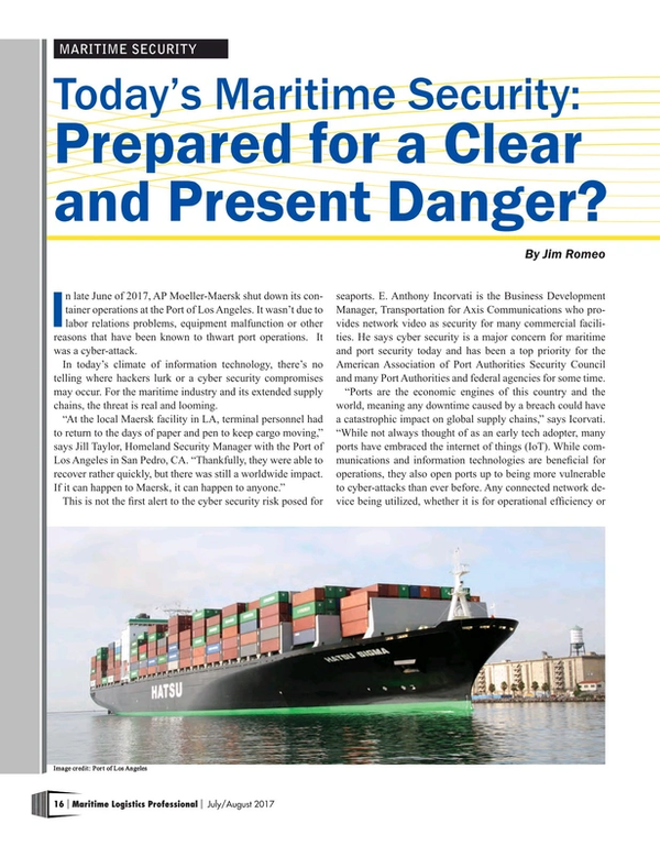 Maritime Logistics Professional Magazine, page 16,  Jul/Aug 2017