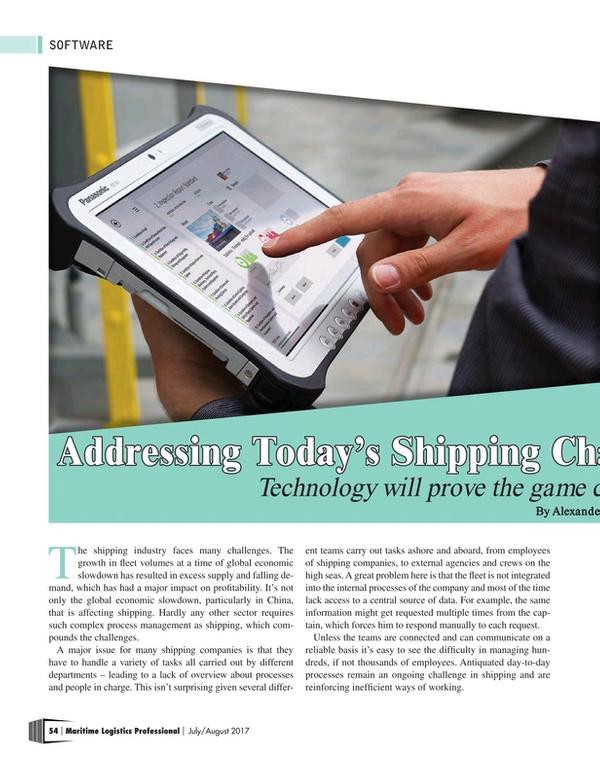 Maritime Logistics Professional Magazine, page 54,  Jul/Aug 2017