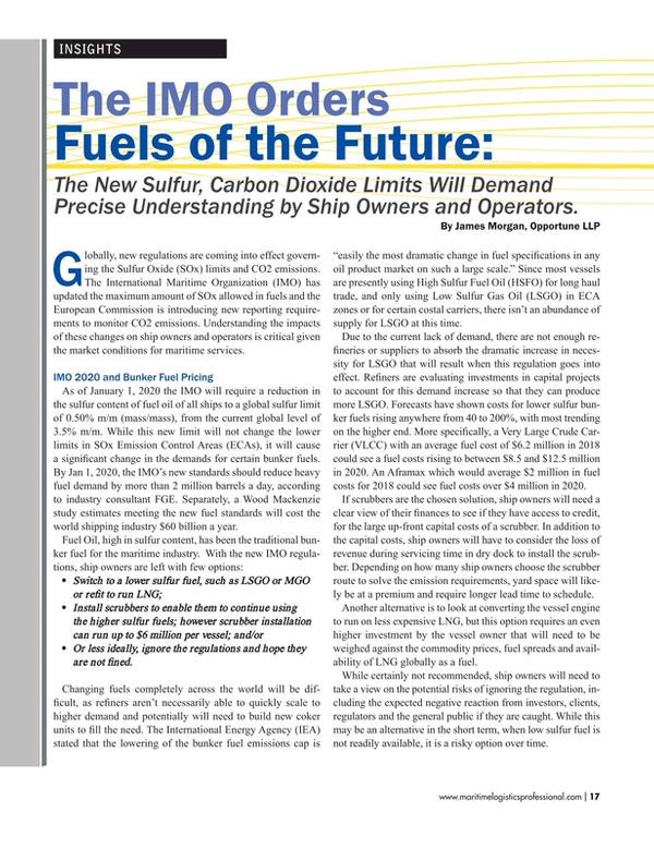 Maritime Logistics Professional Magazine, page 17,  Sep/Oct 2017