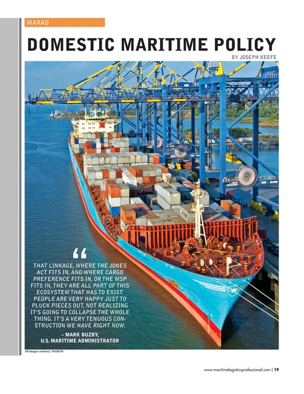 Maritime Logistics Professional Magazine, page 19,  Nov/Dec 2017
