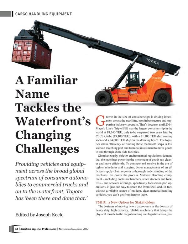 Maritime Logistics Professional Magazine, page 56,  Nov/Dec 2017