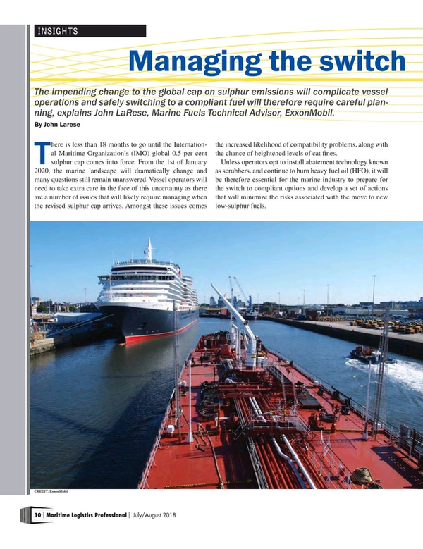 Maritime Logistics Professional Magazine, page 10,  Jul/Aug 2018