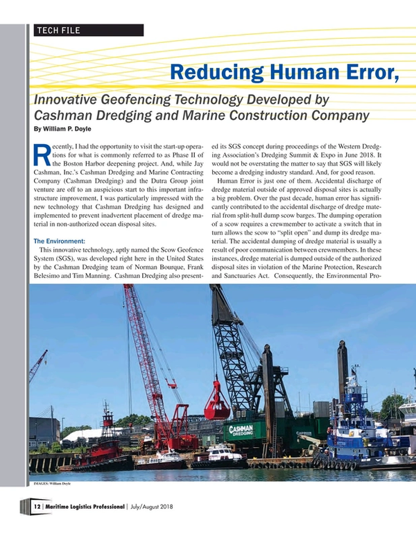 Maritime Logistics Professional Magazine, page 12,  Jul/Aug 2018
